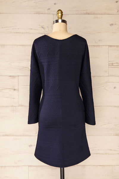 Oufa Navy Long Sleeve Textured Dress | La petite garçonne back view