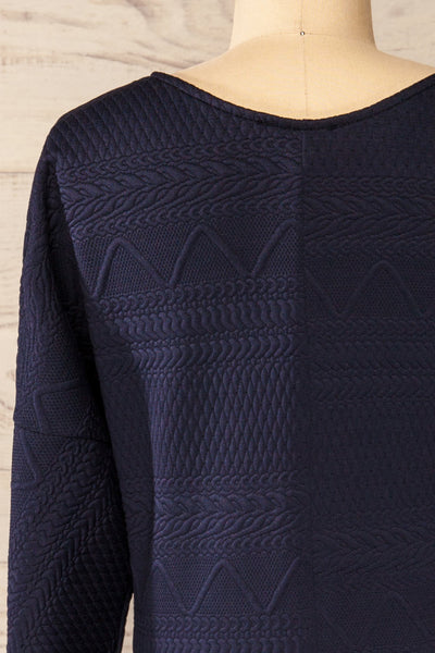 Oufa Navy Long Sleeve Textured Dress | La petite garçonne back close-up