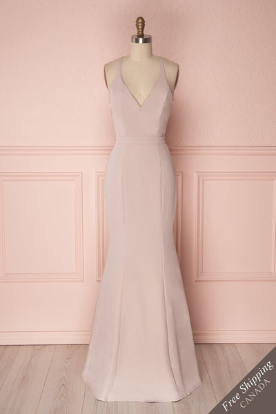 Ovasta Blush Beige Maxi Mermaid Dress with Lace | Boudoir 1861