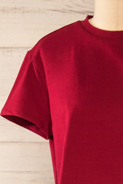 Ovca Burgundy Cropped T-Shirt | La petite garçonne front close-up