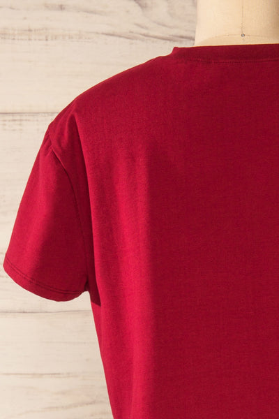 Ovca Burgundy Cropped T-Shirt | La petite garçonne back close-up