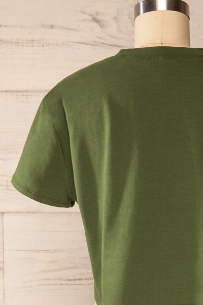 Ovca Green Cropped T-Shirt | La petite garçonne back close up