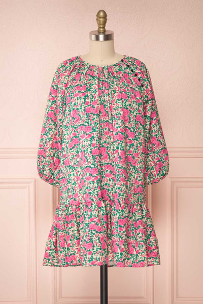 Oxomoco Pink & Green Floral Short Dress | Boutique 1861 front view