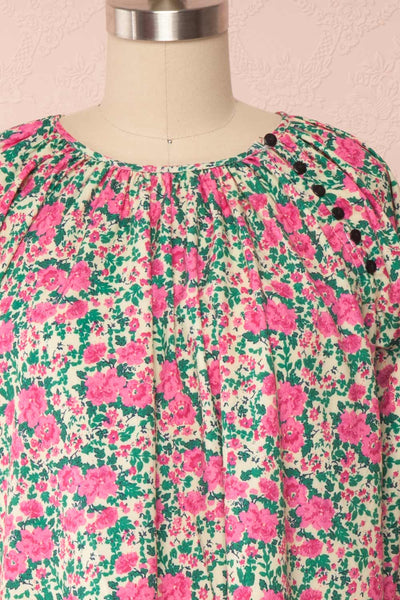 Oxomoco Pink & Green Floral Short Dress | Boutique 1861 front close up