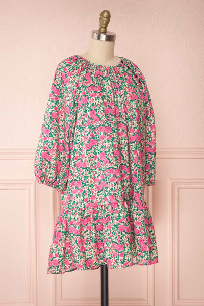 Oxomoco Pink & Green Floral Short Dress | Boutique 1861 side view