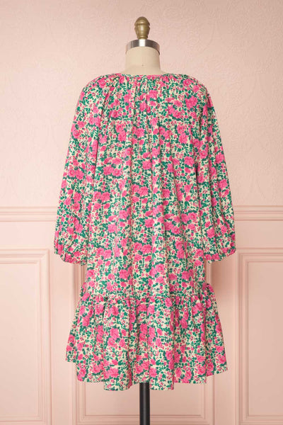 Oxomoco Pink & Green Floral Short Dress | Boutique 1861 back view