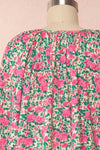 Oxomoco Pink & Green Floral Short Dress | Boutique 1861 back close up