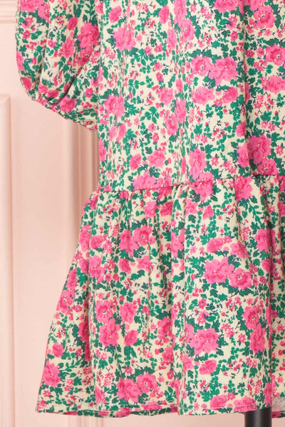 Oxomoco Pink & Green Floral Short Dress | Boutique 1861 skirt