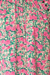 Oxomoco Pink & Green Floral Short Dress | Boutique 1861 fabric