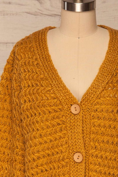 Ozimek Yellow Button-Up Knitted Cardigan | La petite garçonne front close up