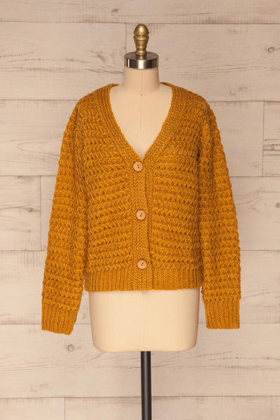 Ozimek Yellow Button-Up Knitted Cardigan | La petite garçonne front view