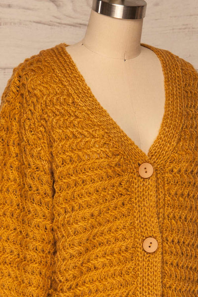 Ozimek Yellow Button-Up Knitted Cardigan | La petite garçonne side close up