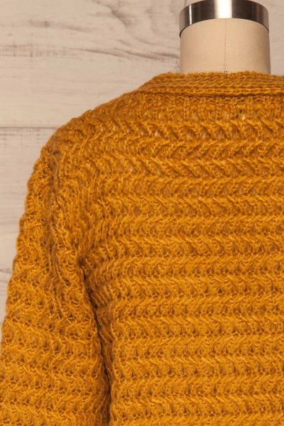 Ozimek Yellow Button-Up Knitted Cardigan | La petite garçonne back close up