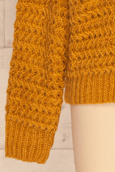 Ozimek Yellow Button-Up Knitted Cardigan | La petite garçonne sleeve