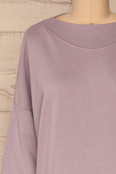 Ozorkow Lilac Long Sleeve Sweatshirt | La petite garçonne front close-up