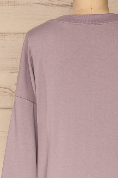 Ozorkow Lilac Long Sleeve Sweatshirt | La petite garçonne back close-up