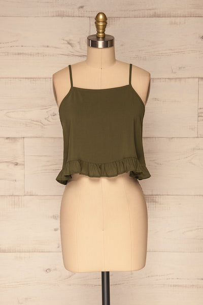 Pabianice Green Cropped Cami w/ Frills | La petite garçonne front view