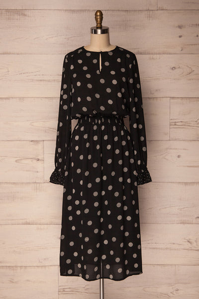 Padroso Black & White Polka Dot Midi Dress | La Petite Garçonne