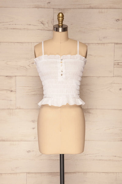 Padul Winter White Ruched Bustier Crop Top | La Petite Garçonne 1