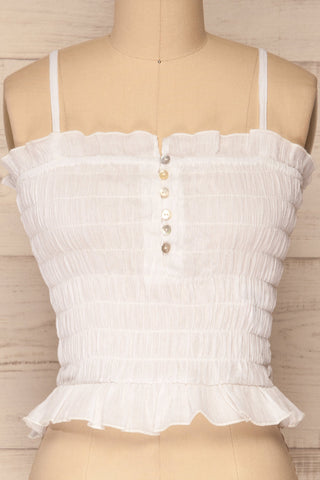Padul Winter White Ruched Bustier Crop Top | La Petite Garçonne 2