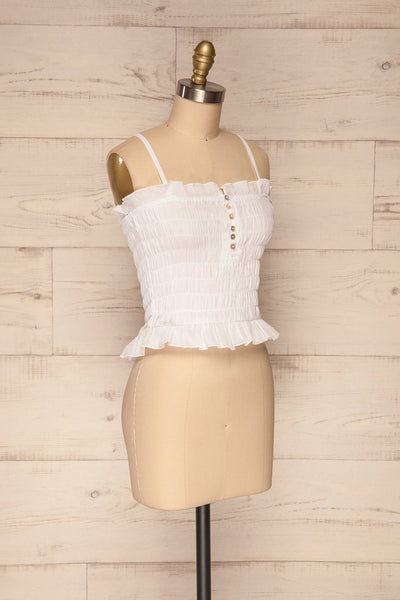 Padul Winter White Ruched Bustier Crop Top | La Petite Garçonne 3