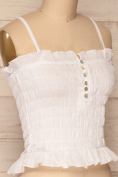 Padul Winter White Ruched Bustier Crop Top | La Petite Garçonne 4