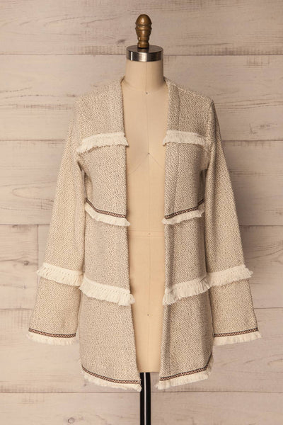 Paggese Ivory Open Jacket with Pattern & Fringe | La petite garçonne 1