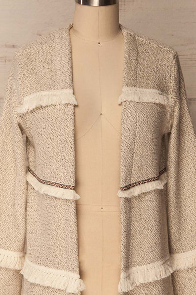 Paggese Ivory Open Jacket with Pattern & Fringe | La petite garçonne 2