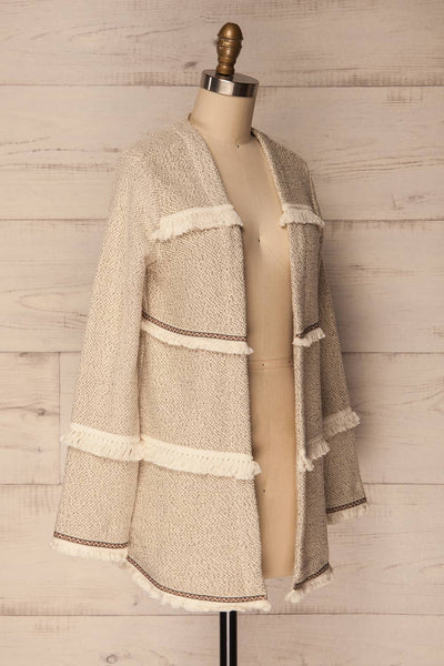 Paggese Ivory Open Jacket with Pattern & Fringe | La petite garçonne 3