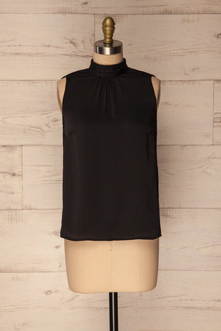 Pajara Black Sleeveless Silky Top with Bow | La Petite Garçonne