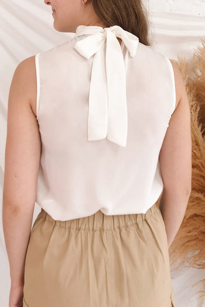 Pajara White Sleeveless Silky Top with Bow | La Petite Garçonne model back