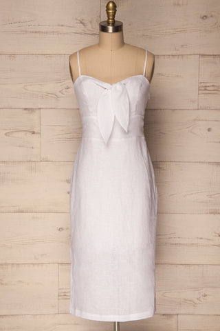Pantano White Midi Summer Dress with Slits | La Petite Garçonne