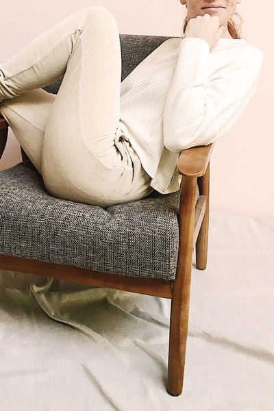 Agnone Beige Stretchy Corduroy Lounge Pants photo | La Petite Garçonne