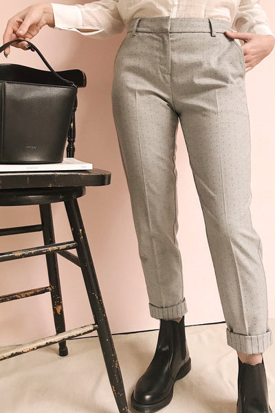 Faksvaag Light Grey Tailored Dress Pants | La petite garçonne on model