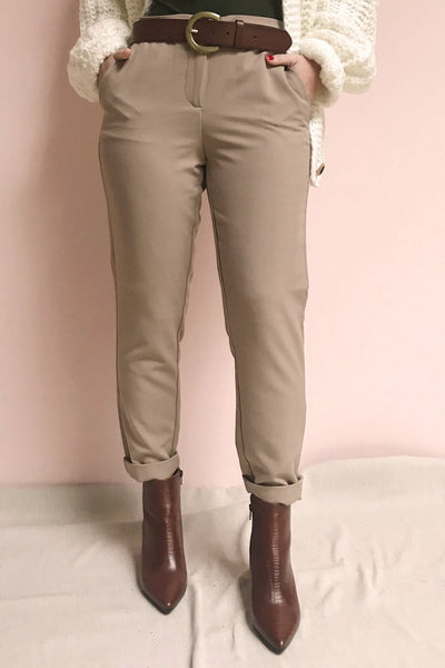 Falstad Taupe Fitted Pants | La Petite Garçonne on model