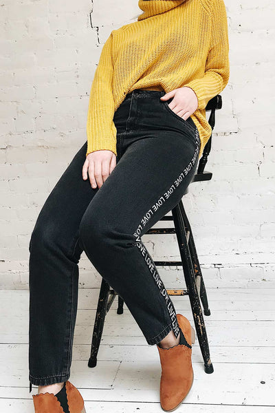 Lovely Black High Waisted Jeans | La Petite Garçonne