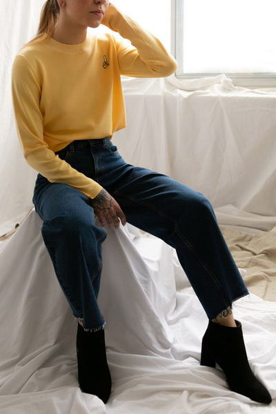 Bananah Yellow Embroidered Knit Sweater | La Petite Garçonne 2