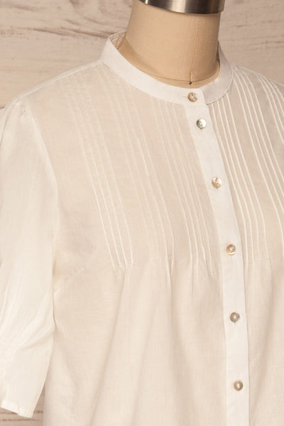 Paoline White Short Sleeve Blouse | La petite garçonne side close up