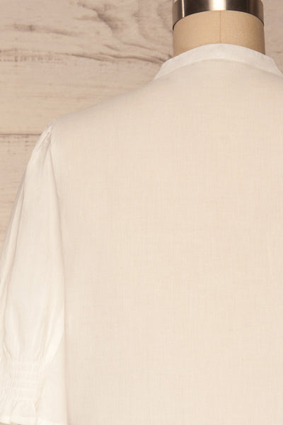 Paoline White Short Sleeve Blouse | La petite garçonne back close up