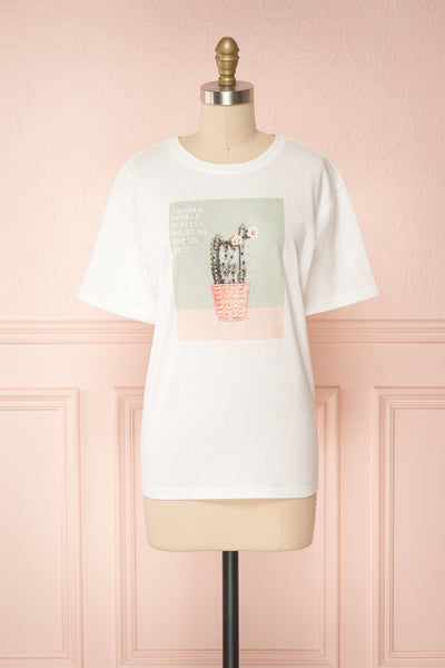 Parielle White T-Shirt w/ Center Print | Boutique 1861 front view