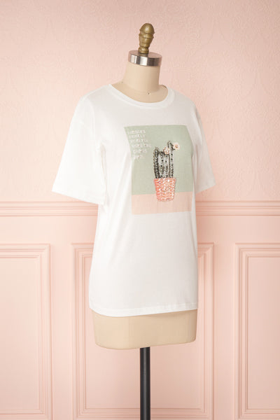 Parielle White T-Shirt w/ Center Print | Boutique 1861 side view