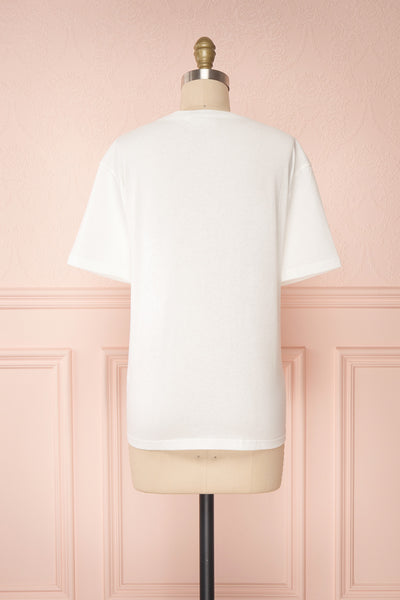 Parielle White T-Shirt w/ Center Print | Boutique 1861 back view