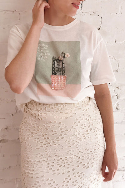 Parielle White T-Shirt w/ Center Print | Boutique 1861 on model