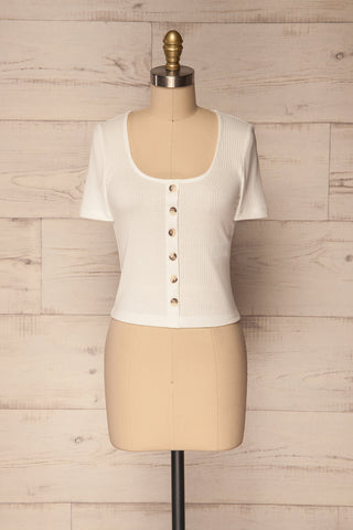 Parike Chalk White Ribbed Button-Up Top | La Petite Garçonne