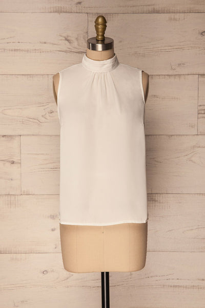 Pajara White Sleeveless Silky Top with Bow | La Petite Garçonne 1