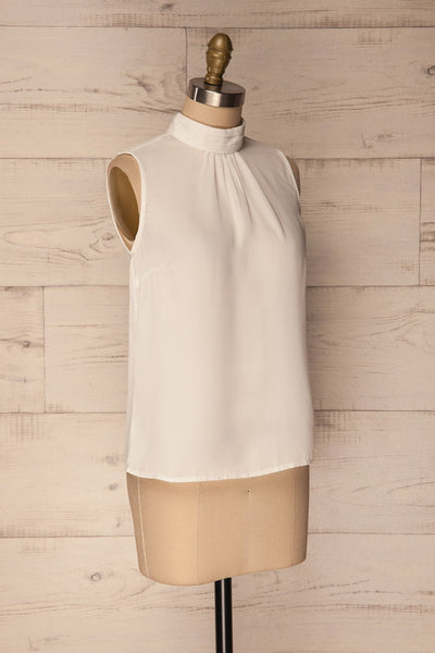 Pajara White Sleeveless Silky Top with Bow | La Petite Garçonne 3