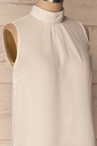 Pajara White Sleeveless Silky Top with Bow | La Petite Garçonne 4