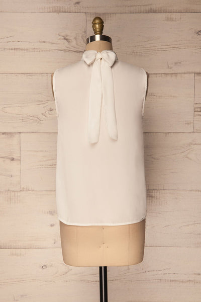 Pajara White Sleeveless Silky Top with Bow | La Petite Garçonne 5