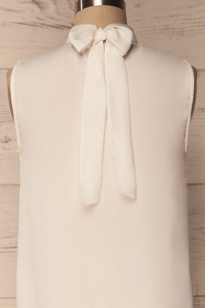 Pajara White Sleeveless Silky Top with Bow | La Petite Garçonne 2