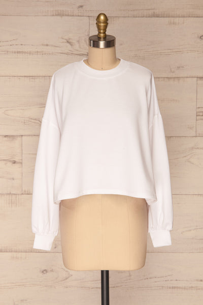 Pasklek White Long Sleeve Crop Top | La petite garçonne front view